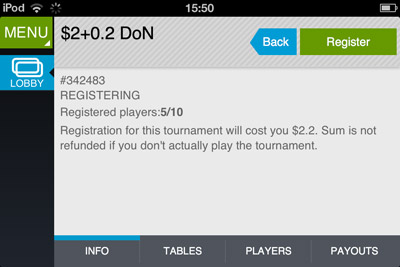 poker tournaments iphone/ipad