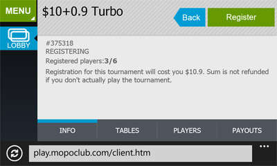 poker tournaments windows phone